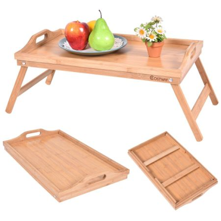 shop for portable bamboo breakfast bed tray serving laptop table folding leg w handle at. Black Bedroom Furniture Sets. Home Design Ideas