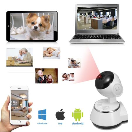 Indoor Wifi Wireless IP Home Security Camera HD 720P with Night Vision, Motion Detection, 2 Way Audio, Mobile App + PC
