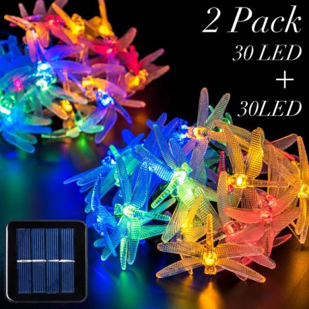 2 Packs Solar Strings Lights, GIGALUMI 20 Feet 30 LED Dragonfly Solar Fairy  Lights,