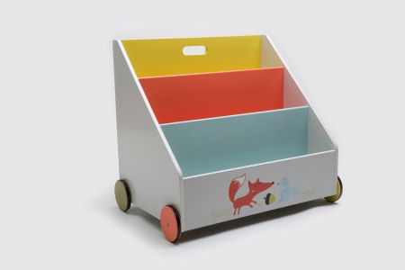 Hessie Kid Bookshelf With Wheels Orange Fox Wood For Kids 1 Year Up