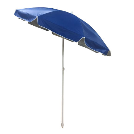 Shaderest 6inch Portable Beach Umbrella Uv Protection With Sand Anchor And Carry Bag Blue Silver