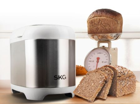 SKG 2LB Automatic Programmable Bread Machine Multifunctional Bread Maker (19 Programs, 3 Loaf Sizes, 3 Crust Colors, 15 Hours Delay Timer, 1 Hour Keep Warm)-Silver & White