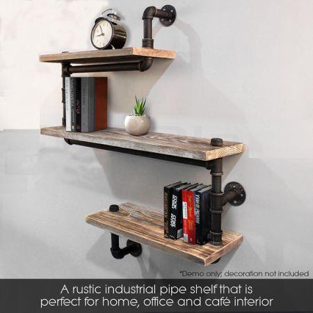 Industrial Pipe Shelving Bookshelf Rustic Modern Wood Ladder Wall Shelf 3 Tiers Wrought Iron