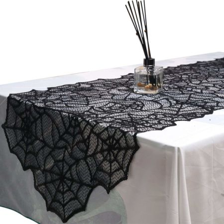 Black Lace Spider Web Table Runner For Halloween Parties, Decor Dinners, 20  By 80