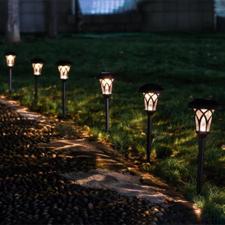 GIGALUMI Solar Pathway Lights Outdoor, 6 PCS Super Bright High LUMEN Solar Powered LED Garden Lights for Lawn, Patio, Yard