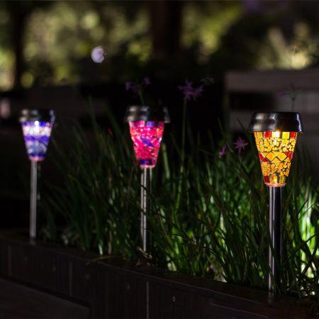 GIGALUMI Solar Garden Lights Outdoor, 3 Color Mosaic Lampshade LED Garden  Lights, Landscape/