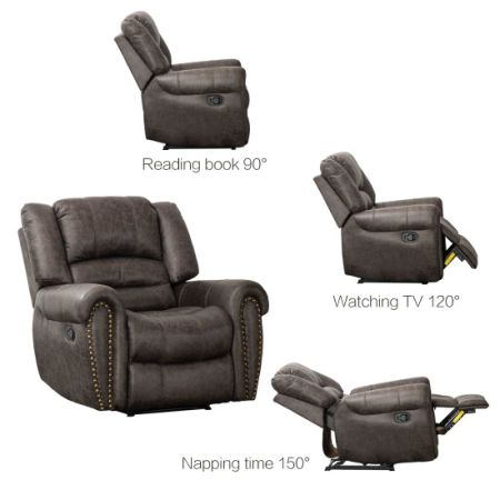 CANMOV Breathable Bonded Leather Recliner Chair, Classic And Traditional 1  Seat Sofa Manual Recliner Chair