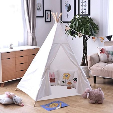 Kids Tent Indoor - 6u0027 Teepee Tent for Kids with 5 Wooden Poles and Carry & Shop for Kids Tent Indoor - 6u0027 Teepee Tent for Kids with 5 Wooden ...