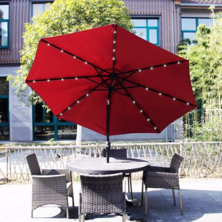 Kinbor Outdoor 9FT Table Metal Solar Powered LED Lighted Patio Umbrella  Window Awning Garden Furniture Red
