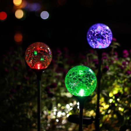 Shop for gigalumi outdoor solar garden lights 3 pack cracked glass ball solar garden stake for Solar garden stakes color changing