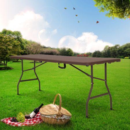 Shop for kinbor 6 feet portable folding rattan design for Outdoor mobel rattan
