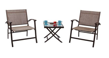 Phi Villa Patio 3pc Folding Slings Chair Sets Patio Furniture Dining Chairs 2 Chairs