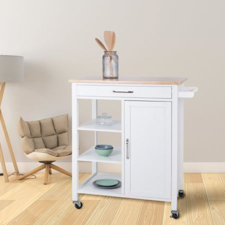 Rolling Wood Kitchen Island Trolley Cart Bamboo Top Storage Cabinet Utility  White