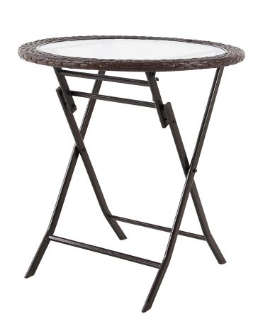 PHI VILLA Resin Wicker Patio Accent Table With Tempered Glass Tabletop  Outdoor Backyard Bistro Dining