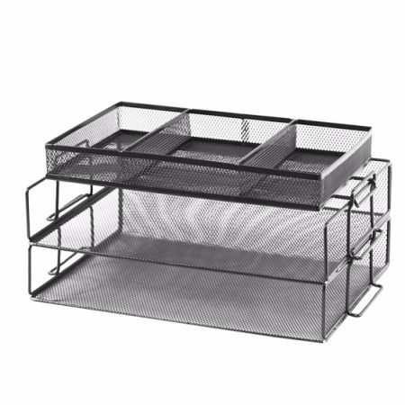GRANDIX 3 Tier File Desktop Tray, Paper Desk Tray Organizer Mesh Desktop  Desktop Document