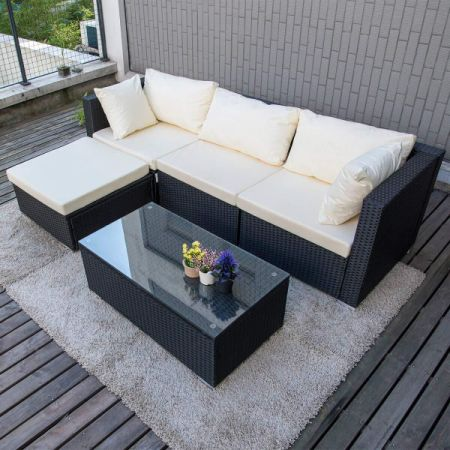 Pamapic Outdoor 5 Pieces Patio Furniture Sets Wicker Rattan Conversation Set  With Tempered Glass Coffee Table
