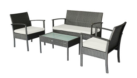 Small Patio Furniture Set Outdoor Wicker Porch Loveseat And Chairs With Extra Cushion Covers For