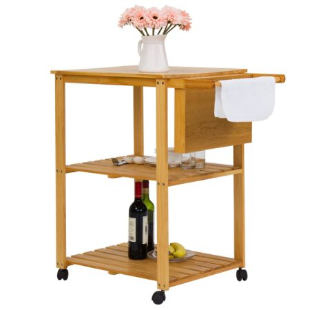 Kinbor 3 Tire Natural Wood Kitchen Utility Cart Work Island Portable  W/Cutting Board