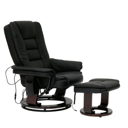 Kinbor Contemporary Leather Lounge Swivel And Mage Recliner Chair With Foot Stool Ottoman Black