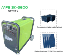 Hysolis 3KW standalone hybrid solar generator with 3.6 Kwh battery storage, mobile power source, home backup power