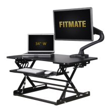 "Fitmate Standing Desk Converter - 34"" Height Adjustable Stand Up Desk Riser Computer Workstation with Retractable Keyboard Tray, Preassembled Sit Stand Desk, Elevating Desktop (Black)"
