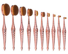 Beauty Kate Oval Makeup Brush Diamond Mermaid 10pcs Cosmetics Toothbrush Brushes Set (Rose Gold)