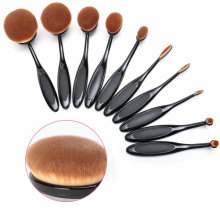 [Free Shipping] Beauty Kate Set of 10 PCS Professional Oval Toothbrush Makeup Brush Set (Black)
