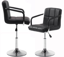 Wahson PU Leather Adjustable Swivel Bar Stool with Stable Base and Modern Independent Armrest, Set of 2, Black