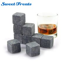 Sweettreats Whiskey Stones Reusable Ice Stone Chilling Rocks Cubes in Gift Box with Carrying Pouch Set of 9 for Whiskey Bourbon