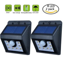 8 LED Solar Light Outdoor Wireless Led Motion Sensor Light Waterproof Outdoor Lamp For Garden Yard Home Driveway Stairs Garage (2 Pack)