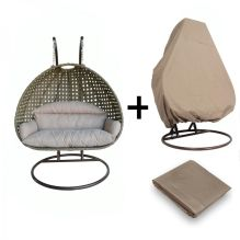 Latte Color Double Seat Wicker Hanging Swing Chair with Beige Color Protective Cover Oxford Fabric