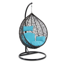 Brown Wicker Blue Cushion Indoor Hanging Chair with Cushion and Head Pillow