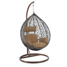High End Outdoor Furniture Grey Wicker Hanging Swing Chair Yellow Cushion