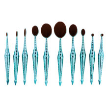 10LZF Beauty Kate Oval Makeup Brush Diamond Mermaid 10pcs Toothbrush Cosmetics Brushes Set (Green) - Concealer Brush Foundation Cosmetics Brush
