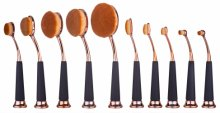 Beauty Kate Set of 10 pcs Professional Oval Pipe Makeup Brush Set (Rose Golden)