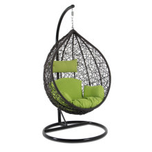 Wholesale Various High End Wicker Hanging Swing Chair with Green Cushion
