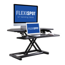 "FLEXISPOT Stand Up Desk Converter - 36"" Cubicles Corner Standing Desk Riser Desk Riser Computer Riser with Deep Keyboard Tray for Laptop"