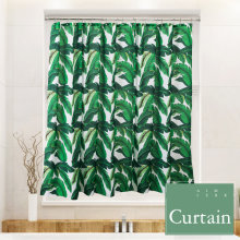 Tropical Plants Banana Leaves Green Fabric Shower Curtain Waterproof And Mildew ResistantWashable 72 X