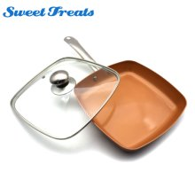 Sweettreats Copper Pan 10-Inch Nonstick Deep Square Induction Fry Pan with Glass Lid, Dishwasher Safe Oven Safe