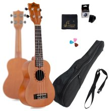 WINZZ 21 Inch Soprano Student Starter Ukulele with Gig Bag, Tuner, Strap, Polishing Cloth, Picks (21 Inches)