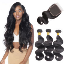 Brazilian Human Hair Body wave Bundles with Closure Nature Color 100% Unprocessed Virgin Human Hair (20 22 24+20)