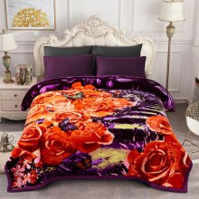 "JML Heavy Fleece Blanket, Plush Velvet Korean Style Mink Blanket Queen Size 79""x91"", Two Ply Reversible Raschel Blanket - Silky Soft Wrinkle and Fade Resistant Thick Bed Warm Blanket, Purple Floral"