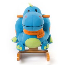 [Free Shipping] Labebe Wooden Rocking Horse Blue Dinosaur, for 6 Months - 3 Years Old Boys & Girls Toddler Rocking Ride-on Toys for 1-3 years old, Stuffed Animal Seat, ASTM/CE Safety Certified,