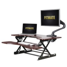 "Fitmate 36"" Height Adjustable Work Standing Desk Converter Fits Two Monitors, Sit / Stand up Desk Elevating Desktop (Cherry)"