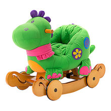 Labebe Baby Wooden Rocking Horse 2-in-1 Green Dinosaur, Kids Rocking Ride-on Toys for 1-3 years old, Stuffed Animal Seat, Rattles, Dual Use as Stroller, ASTM Safety Certified