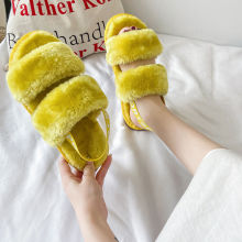 Women's Ankle Elastic Band Open Toe Winter Slippers Soft Plush Fleece House Shoes with Elastic Cord for Indoor Outdoor