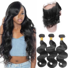 10 a Brazilian Body Wave 3 Bundles With 360 Lace Frontal 100% Unprocessed Virgin Human Hair Bundles 360 Closure With Baby Hair Nature Color (14 16 18+14