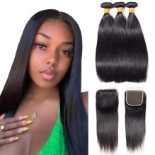 10A Brazilian Straight Hair Bundles With Closure Virgin Hair Straight Weave With Closure Natural Color (14 16 18 With 14)