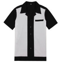 d8f7b7972b1f0a Men's Button Up Woven Shirts Collar 50's Retro Vintage Rock 60's Stage  Clothes