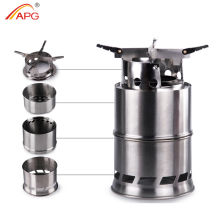 APG Portable Wood Gas Burning Camp Stove Foldable Camping Backpacking Stoves
